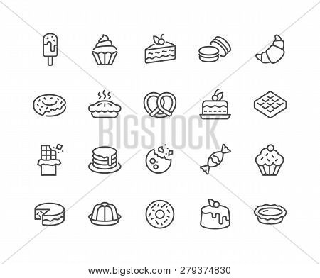 Simple Set Of Dessert Related Vector Line Icons. Contains Such Icons As Macarons, Bagel, Sweet Waffl