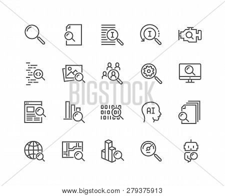 Simple Set Of Search Related Vector Line Icons. Contains Such Icons As Reverse Indexation, Search Bo