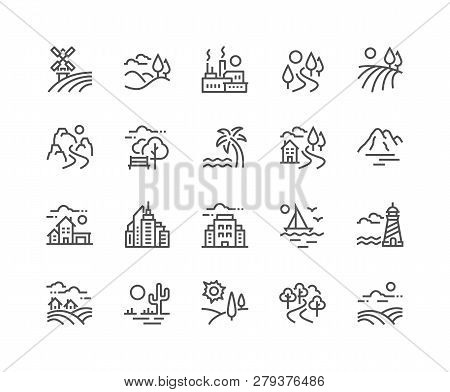 Simple Set Of Landscape Related Vector Line Icons. Contains Such Icons As Farm, Megapolis, Desert An