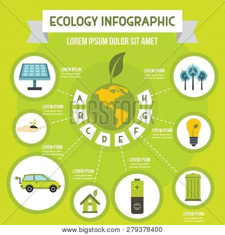 Ecology Infographic Banner Concept. Flat Illustration Of Ecology Infographic Poster Concept For Web
