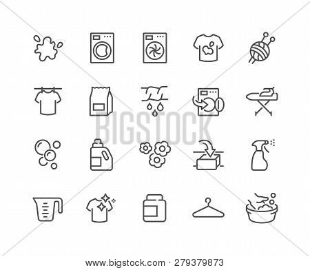 Simple Set Of Laundry Related Vector Line Icons. Contains Such Icons As Washing Machine, Dryer, Dirt