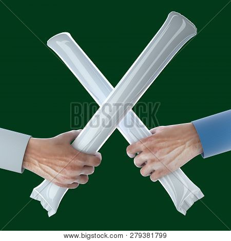 Hands Holding Crossed Stadium Noisemakers Crowd Loud Inflatable Thunder Stick Bang Cheer Fan Noise M