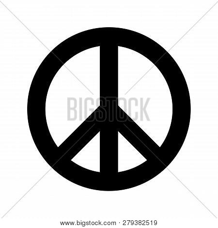 Peace Symbol. Simple Flat Vector Icon. Black Sign On White Backround