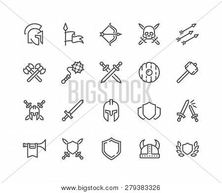 Simple Set Of Archaic War Related Vector Line Icons. Contains Such Icons As Helmet, Sword, Shield An