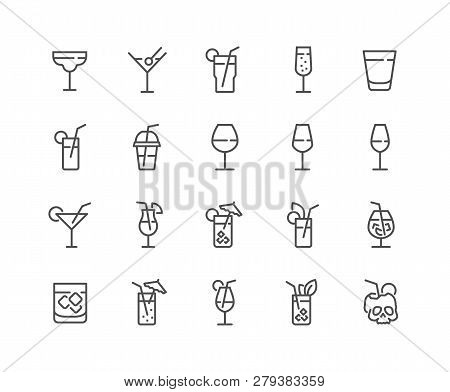 Simple Set Of Cocktail Related Vector Line Icons. Contains Such Icons As Rock, Martini, Champaign Gl