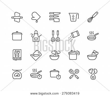 Simple Set Of Cooking Related Vector Line Icons. Contains Such Icons As Kitchen Utensils, Boiling An