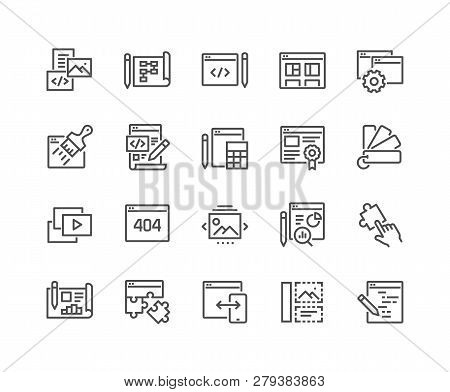 Simple Set Of Web Development Related Vector Line Icons. Contains Such Icons As Content, Image Galle