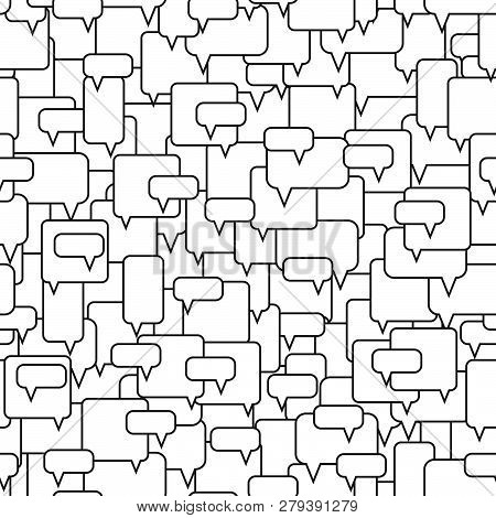 Speech Bubbles Seamless Pattern. Message Boxes. Diversity Of Opinions In The Crowd. Symbolic Discuss