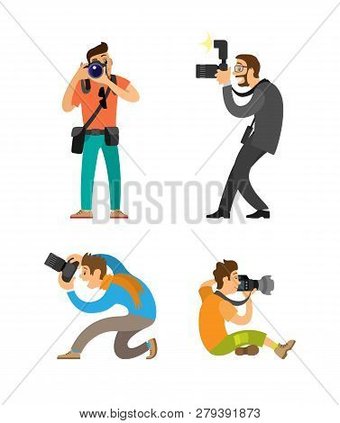 Photographing people set, photographer and paparazzi, modern cameras with flash. Man taking photos, journalist in glasses wearing suit vector illustrations. poster