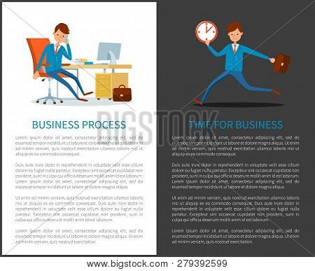 Business Process Time To Work, Businessman Running With Clock Vector. People Working In Office, Deal