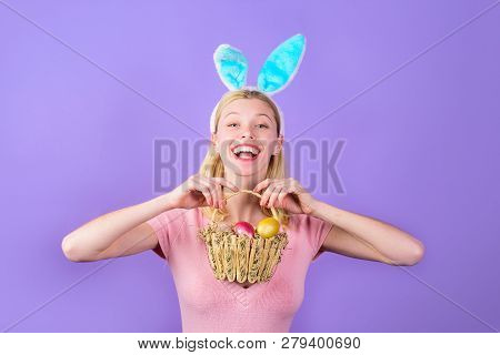 Happy Easter! Girl With Easter Basket. Easter. Bunny. Spring Holidays. Easter Day. Smiling Girl With