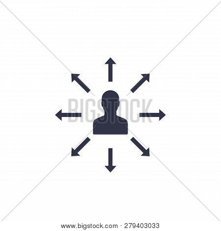 Delegation, Management Vector Icon On White, Eps 10 File, Easy To Edit