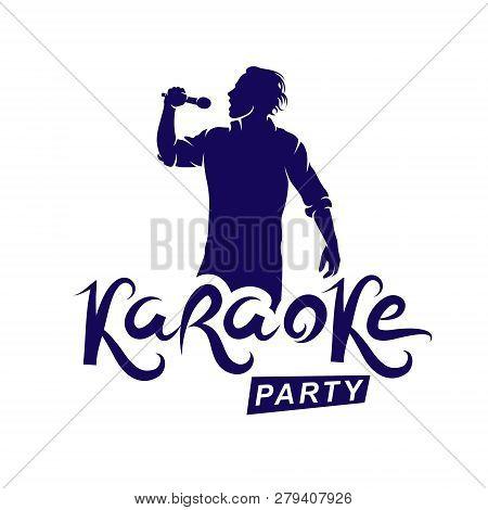 Happy Man With Microphone Sings Karaoke, Famous Superstar Concert Invitation Flyer. Karaoke Party Wr