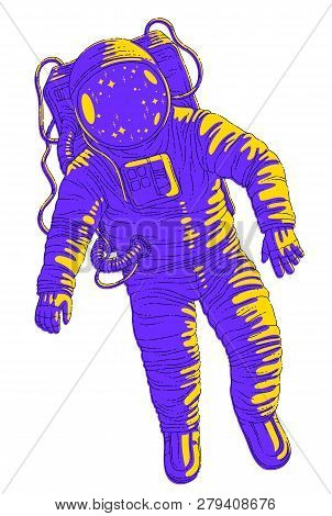 Astronaut In Spacesuit Floating In Weightlessness, Spaceman In Open Space Realistic Vector Illustrat