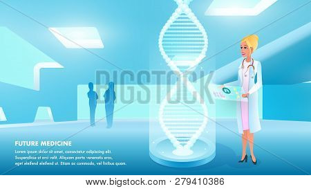 Illustration Girl Doctor Holds Hand Medical Card. Banner Future Medicine. Woman In Uniform Examines
