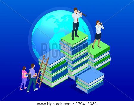 Isometric Distance Education, Online Courses, E-learning, Tutorials Concept. Training, Online Learni