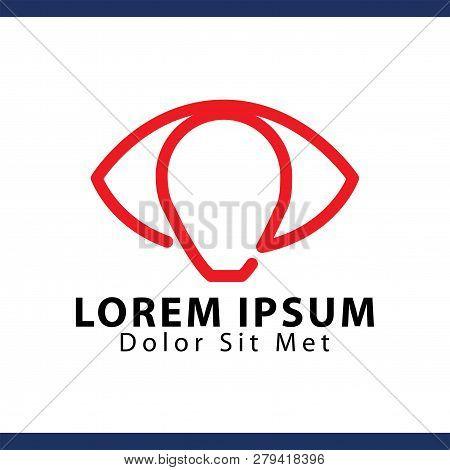 Eye Lamp Logo  Vector Template. Vector Stock