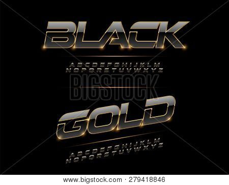 Elegant Sport Black, Silver And Golden Metal Chrome Alphabet Font. Typography Modern Style Gold Font