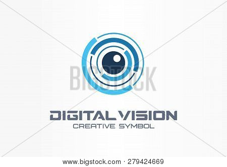 Digital Vision Creative Symbol Concept. Eye Iris Scan, Vr System Abstract Business Logo. Cctv Monito