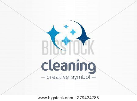 Sparkle Star, Fresh Smile Creative Symbol Concept. Wash, Glare, Laundry, Cleaning Company Abstract B