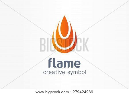 Flame Creative Symbol Concept. Fire Energy In Drop Shape Abstract Business Logo. Flammable Water Fue