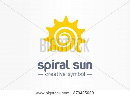 Spiral Sun Creative Symbol Concept. Summer Morning Energy Light Abstract Business Logo. Hot Sunshine