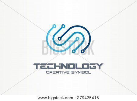 Digital Technology Creative Symbol Concept. Electronics, Software, Hardware Upgrade, Integration Abs