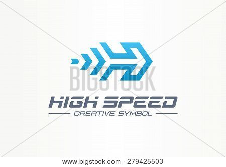 High Speed Creative Sport Symbol Concept. Power Accelerate Race In Arrow Growth Abstract Business Lo