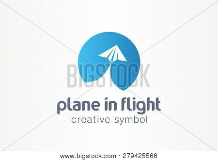 Plane In Flight Creative Symbol Concept. Paper Air Message Abstract Business Travel Logo. Send Direc