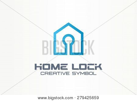 Home Lock Creative Symbol Concept. Security Access Control, Account Login, Building Safety Abstract