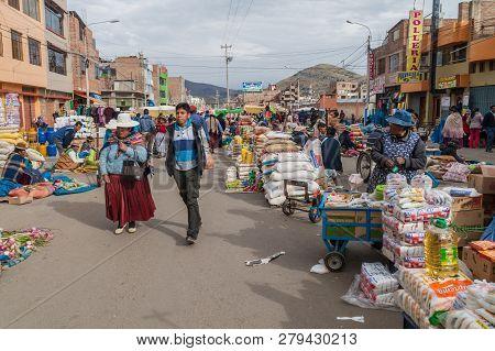 Puno, Peru - May 16, 2015: View Of A Street Market In Puno, Peru