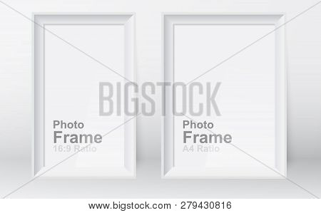 Realistic Picture Frame Isolated On White Background. 3d Picture Frame Design Vector For A4 And 16:9
