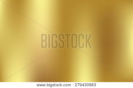 Gold Gradient Background Vector Icon Texture Metallic. Golden Background Vector Illustration. Light