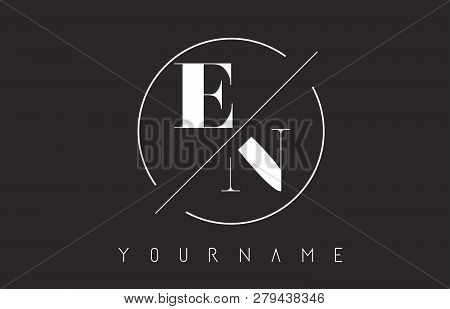 En Letter Logo With Cutted And Intersected Design And Round Frame Vector Illustration