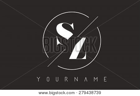 Sz Letter Logo With Cutted And Intersected Design And Round Frame Vector Illustration