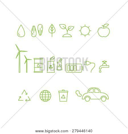 Vector Set Of Outline Ecology Icons. Ecology Icons Collection.