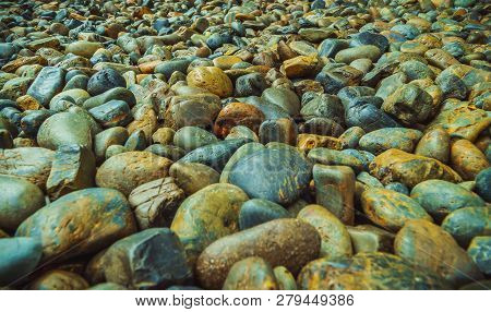 Wet Sea Pebbles, Wet Gravel, Beautiful Texture, Sea Gravel Is A Variety Of Colors.