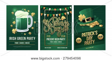 St.patrick`s Day. Set Of Festive Posters With Symbols Of Irish Holiday On Green Background. Beer Mug