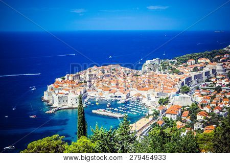 Panoramic View Of Old Town (medieval Ragusa) And Dalmatian Coast Of Adriatic Sea In Dubrovnik. Blue