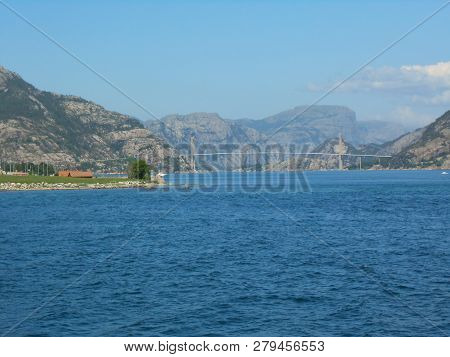 Norwegian Fjord And Mountains In Summer. Lysefjord, Rogaland Norway. Lysefjord Bridge To Forsand.