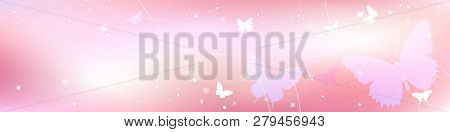 Abstract Spring Summer Background In Light Pink Pastel Color, Sweet Love Theme With Butterfly And Tr