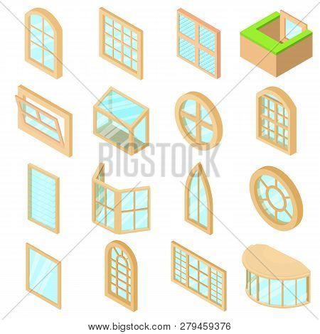 Window Forms Icons Set. Isometric Illustration Of 16 Window Forms Icons Set Icons For Web