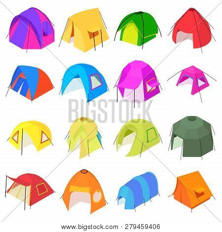 Tent Forms Icons Set. Isometric Illustration Of 16 Tent Forms Icons For Web