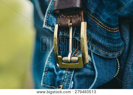 Denim Pants. Jeans, Closeup. Men Accessories. Blue Jeans, Guy Fashion. Male Casual Trousers. Jeans F