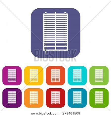 Window With Wooden Jalousie Icons Set Illustration In Flat Style In Colors Red, Blue, Green And Othe