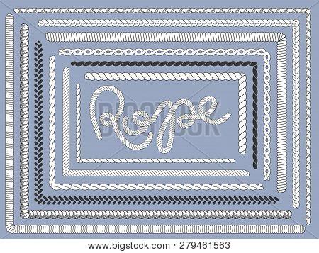 Rope Brush. Marine Ropes, Braided String Plait Texture Knitting Rope Brushes Isolated Vector Set