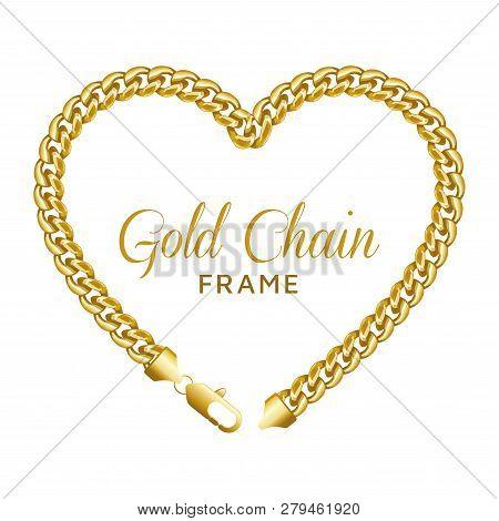 Gold Chain Heart Love Border Frame. Wreath Shape. Jewelry Design, Text Frame. Realistic Vector Illus