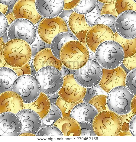 Seamless Pattern. Golden And Silver Coin, Money, Laying In Random Order. Euro, England Great Britain