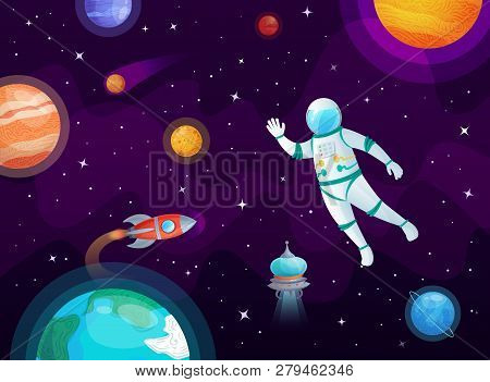 Cosmonaut In Space. Astronaut Spacecraft Rocket In Open Space, Universe Planets And Planetary Cartoo
