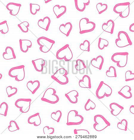 Seamless Pattern With Hand Drawn Hearts. Happy Valentine S Day Greeting. Vector Illustration With Ha